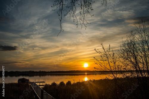 Spring Sunset Landscape at the Lake