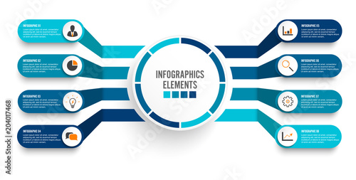 Fotografía Vector infographic template with 3D paper label, integrated circles