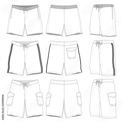 Valokuva Vector template for Men's boardshorts