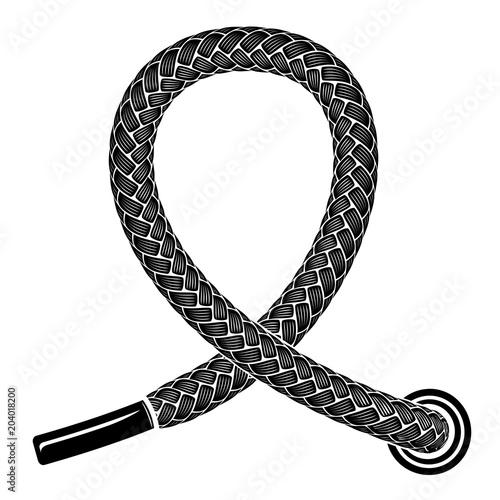Black shoelace icon, simple style Tableau sur Toile