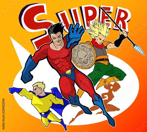 Jasny i kolorowy zestaw zabawnych i niesamowitych zespołów niesamowitych super bohaterów w fajnych strojach