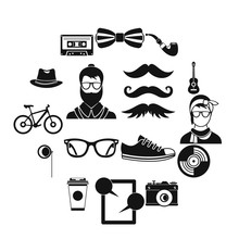 Hipster Icons Set, Simple Style