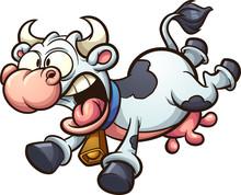 Crazy Cartoon Cow Running Scar...