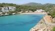 Landscape of the beautiful bay of Cala Estany d'en Mas with a wonderful turquoise sea, Cala Romantica, Porto Cristo, Majorca, Spain