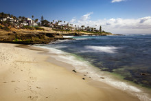La Jolla Beach Landscape And Cliffs In California