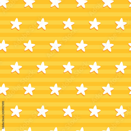 Cotton fabric Star pattern in yellow stripe. A playful, modern, and flexible pattern for brand who has cute and fun style. Repeated pattern. Happy, bright, and magical mood.