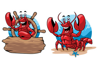 lobster cartoon set