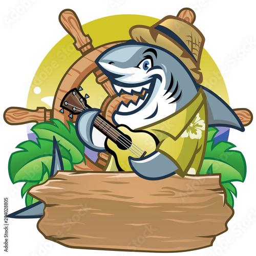 Cadres-photo bureau Pirates shark cartoon mascot playing guitar design