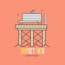 Sea Pier Logo Or Label Template In Line Art Style. Wooden Jetty, Seagulls And Bench At Seaside Vacation Concept. Sunset View Beach Resort Or Summer Travel Agency Logotype.