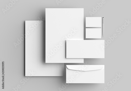 Cuadros en Lienzo Corporate identity stationery mock up isolated on gray background