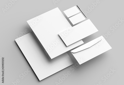 Fotografía  Corporate identity stationery mock up isolated on gray background