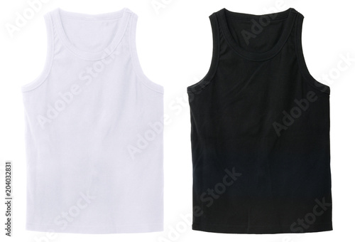 Fotografía  Blank tank top color white and black front view on white background