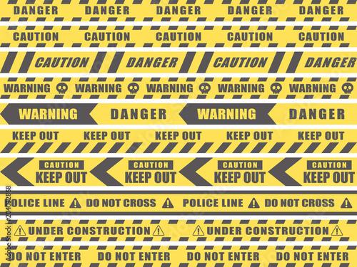 シームレス 危険・注意・立入禁止のテープのセット Canvas Print