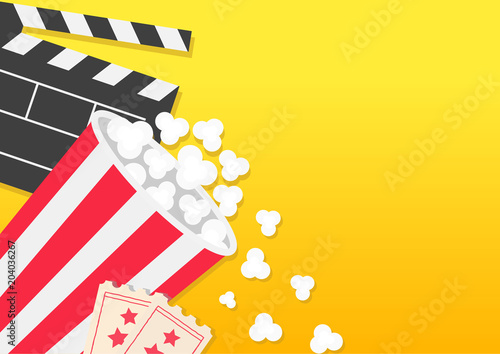 Movie Reel Open Clapper Board Popcorn Bucket Box Package Ticket