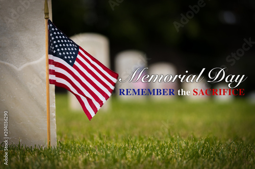 2039442b3ac Small American flags and headstones at National cemetary- Memorial Day  display - with copy