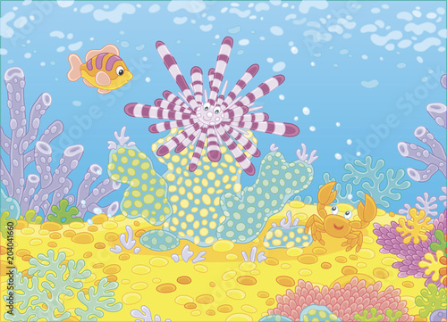 Tuinposter Onderzeeer Striped long-spine sea urchin, a funny small crab and a colorful fish among corals on a reef in a tropical sea, vector illustration in a cartoon style