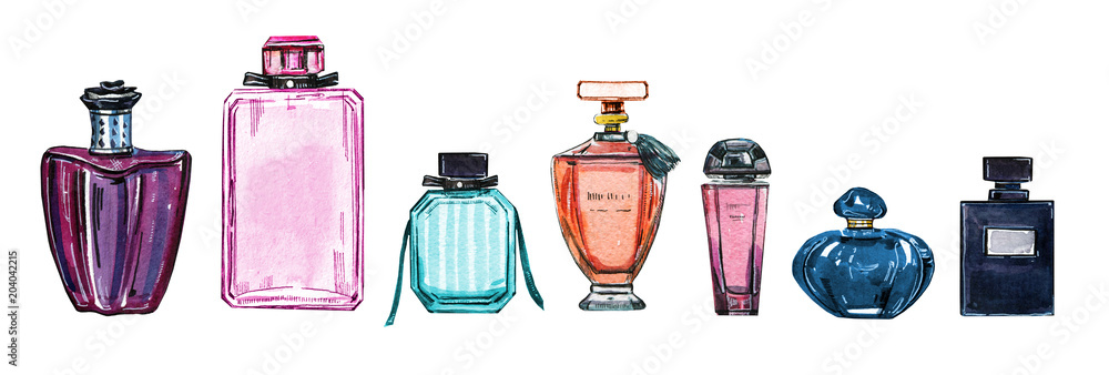 Fototapety, obrazy: Hand drawn watercolor set of different women perfume bottles