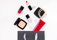 Make Up Beauty Cosmetics And Accessory In Gift Bag