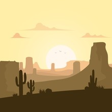 Desert Landscape With Cactuses...