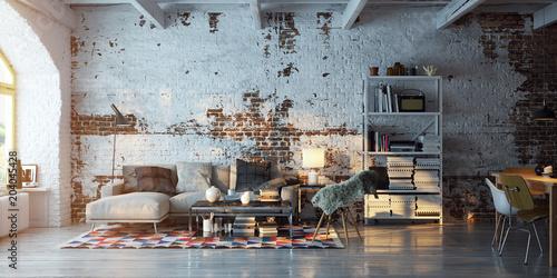 panorama view inside vintage brick loft apartment - Buy this ...