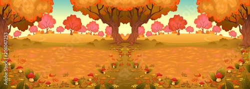 In de dag Kinderkamer Landscape in the wood with mushrooms, c,