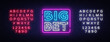 Big Bet Neon sign vector. Light banner, bright night neon sign on the topic of betting, gambling. Editing text neon sign