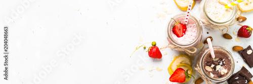 Stampa su Tela Banana chocolate and strawberry milkshakes