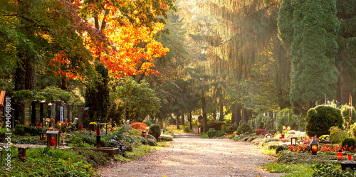Spoed Foto op Canvas Begraafplaats Friedhof im Herbstlicht