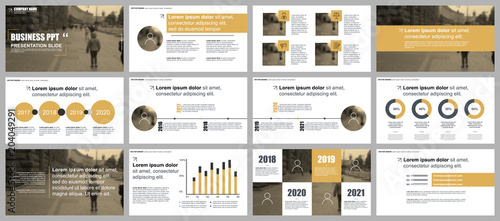 Fototapeta Gold business presentation slides templates from infographic elements. obraz