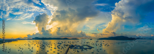 Foto op Canvas Poort aerial photography cloudy above Chalong pier