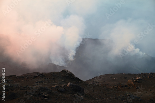 Smoke escaping from volcanic crater, Volcano Stromboli, Aeolian Islands, Sicily, Canvas Print