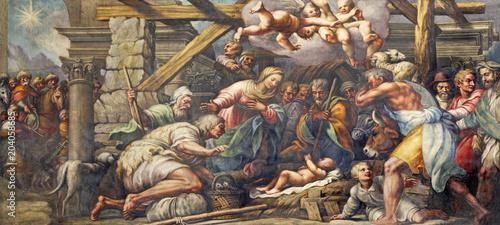 PARMA, ITALY - APRIL 16, 2018: The fresco of Nativity (Adoration of the Shepherds) in Duomo by Lattanzio Gambara (1567 - 1573).