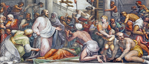 Canvas Prints Historical buildings PARMA, ITALY - APRIL 16, 2018: The fresco Jesus at the healing in Duomo by Lattanzio Gambara (1567 - 1573).