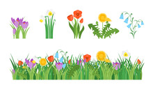 Cartoon Garden Flowers And Ele...