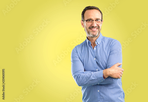 Fototapety, obrazy: Handsome middle age man confident and happy with a big natural smile laughing, natural expression