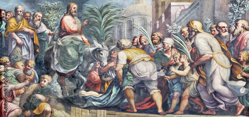 Tuinposter Ezel PARMA, ITALY - APRIL 16, 2018: The fresco of Entry of Jesus in Jerusalem (Palm Sundy) in Duomo by Lattanzio Gambara (1567 - 1573).