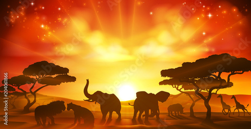 African Safari Animal Savannah Silhouette Scene Wallpaper Mural