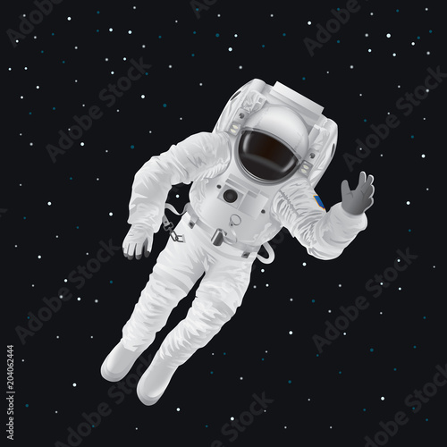 Slika na platnu Spaceman in Pressure Suit out in Space among Stars