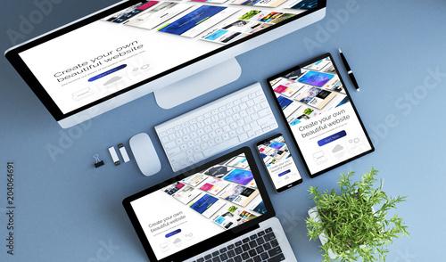 Fotografie, Obraz  top view blue devices website builder