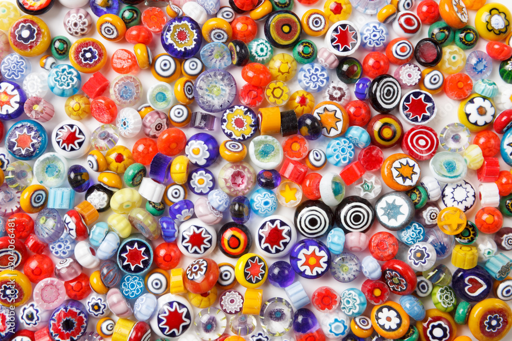 Fototapety, obrazy: Collection of colorful glass beads. Colored Venetian, Murano glass, millefiori.