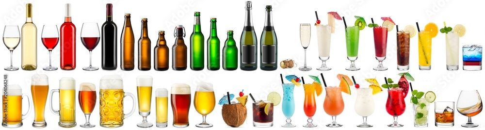 Fototapeta huge collection set of beverage alcoholic drinks cocktails champagne wine beer bottle glass isolated on white background