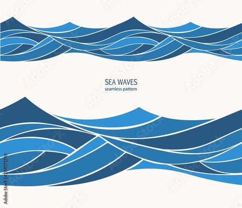 Türaufkleber Künstlich Marine seamless pattern with stylized blue waves on a light background. Water Wave abstract design.