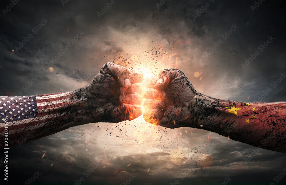 Fototapeta Conflict, close up of two fists hitting each other over dramatic background with copy space
