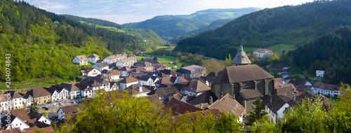 Mountain green valley village landscape, Pyrenees, Otsagabia, Navarra, Spain