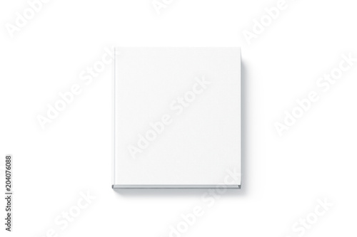 Valokuva  Blank white square hardback book mock up, top view, isolated