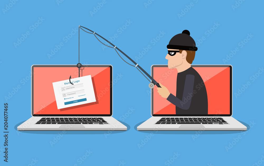 Fototapeta Phishing scam, hacker attack