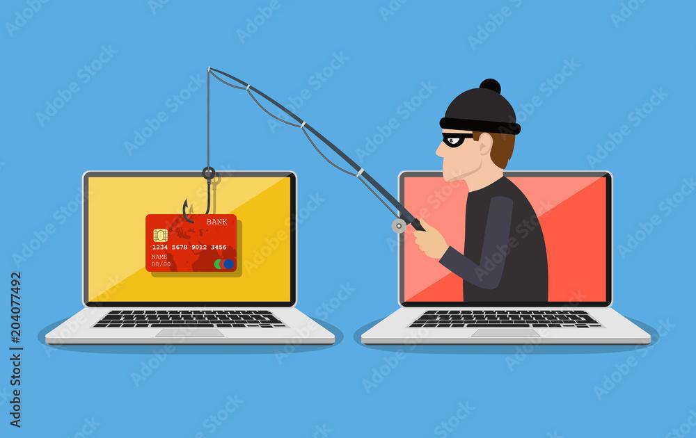 Fototapeta Internet phishing and hacking attack concept.