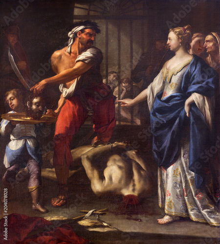 REGGIO EMILIA, ITALY - APRIL 13, 2018: The painting of Decapitation of st Canvas Print