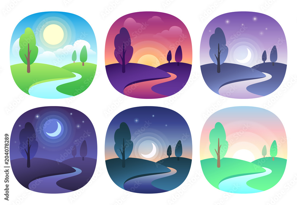 Fototapeta Modern beautiful landscape with gradients. Sunrise, dawn, morning, day, noon, sunset, dusk and night icon. Sun time vector icons set