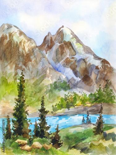 Akwarela krajobraz gór i rzeki. Vintage rysunek